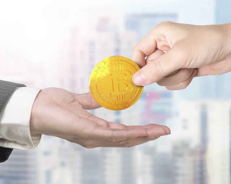 Concepto de explotación minera de Bitcoin, tecnología del blockchain, cryptocurrency foto de archivo libre de regalías