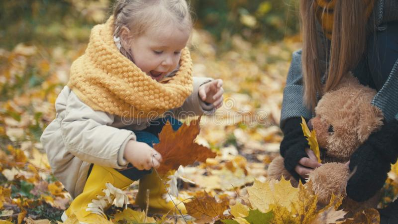 Concepto de familia feliz - la pequeña hija con su madre juega con las hojas amarillas en parque del otoño foto de archivo