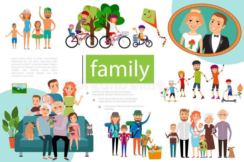 Concepto de familia feliz plano ilustración del vector