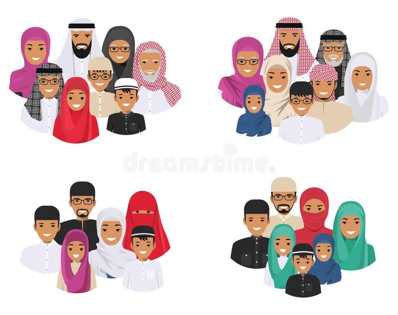Concepto de familia Generaciones árabes de la gente en diversas edades Padre musulmán, madre, abuela, abuelo, hijo y libre illustration
