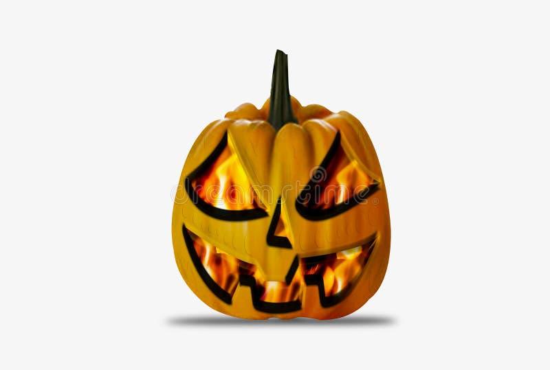 Concepto de Feliz Halloween, con símbolo de calabaza con llamas en el fondo, horror, alegría y diversión, usado como ilustracià stock de ilustración