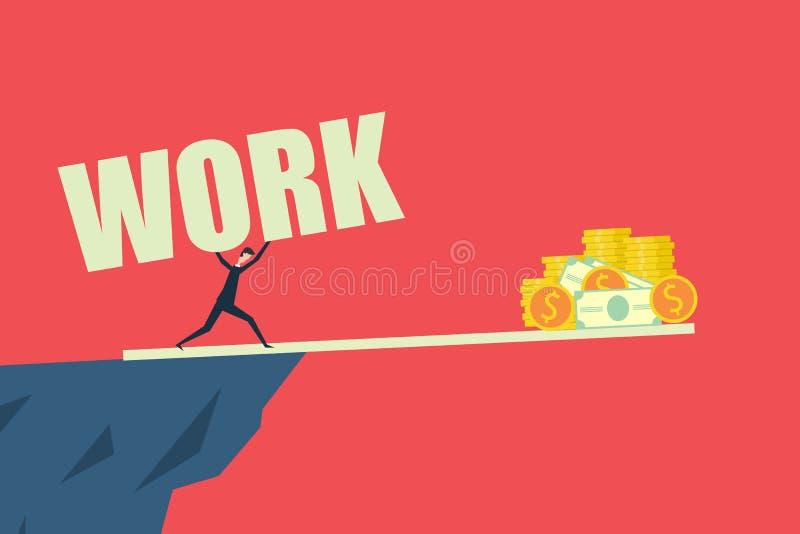 Concepto de financiación empresarial,Trabajo difícil para ganar dinero y lograr el éxito Diseño plano de la ilustración del vecto stock de ilustración