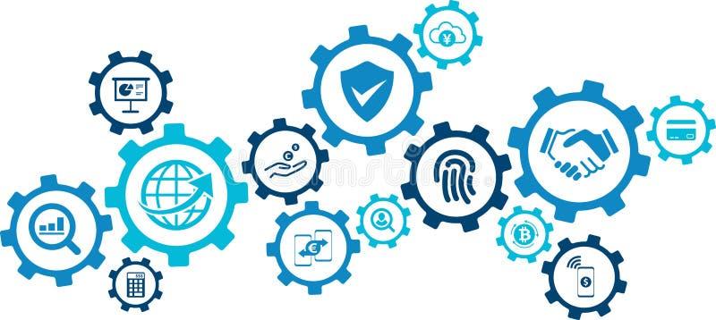 """Concepto de Fintech: servicios financieros innovadores/nueva tecnología en ejemplo del vector del †de las finanzas """" ilustración del vector"""