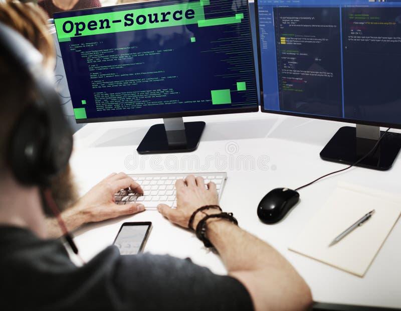 Concepto de fuente abierta de la tecnología de la fuente de la codificación del acceso foto de archivo libre de regalías