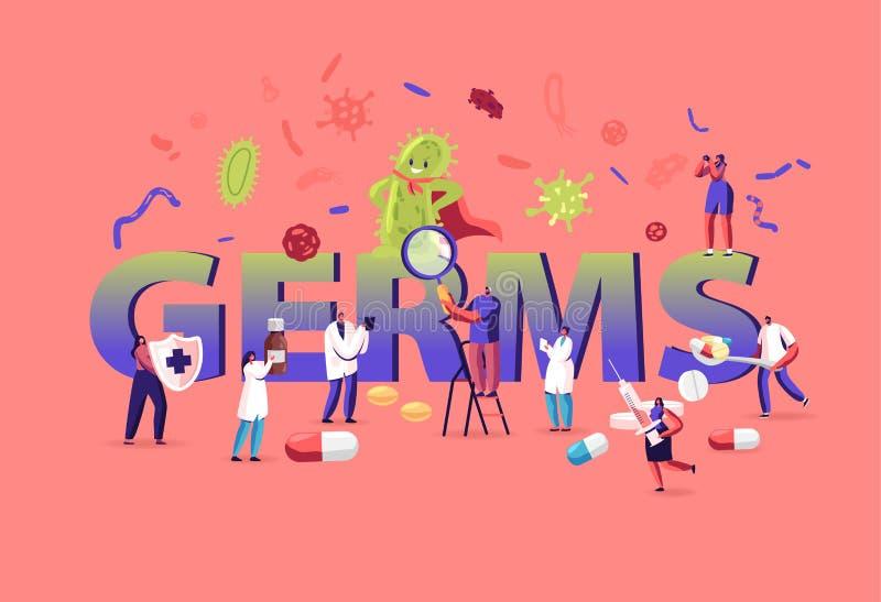Concepto de gérmenes y virus La gente se protege del enorme microbio verde Personajes hombres y mujeres atacan virus stock de ilustración