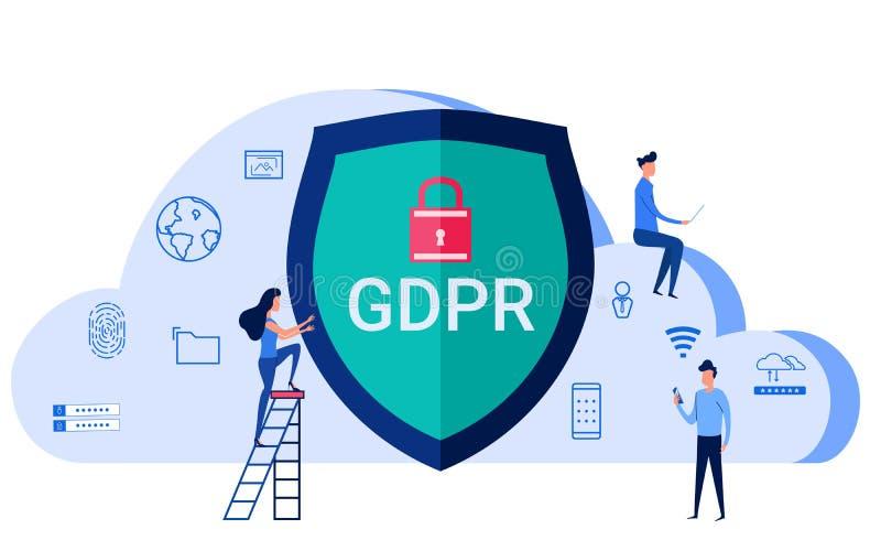 Concepto de GDPR La regulación general de la protección de datos para protege los datos y la privacidad personales stock de ilustración
