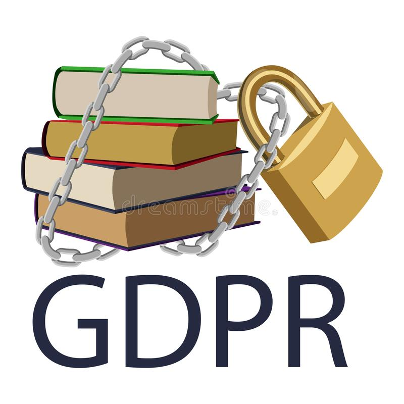 Concepto de GDPR Regulación general de la protección de datos Libros dibujados mano libre illustration