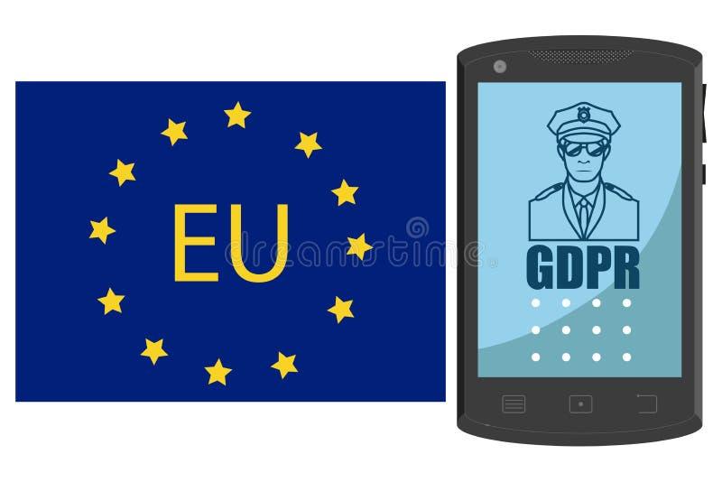 Concepto de GDPR Regulación general de la protección de datos Smartphone dibujado mano stock de ilustración