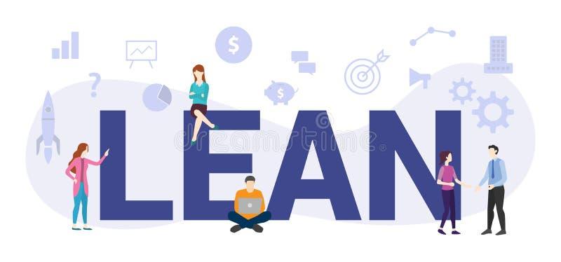 Concepto de gestión de flujo de trabajo liso con palabras grandes o texto y personas de equipo con estilo plano moderno - vector ilustración del vector