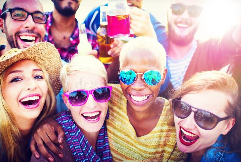 Concepto de goce alegre de la felicidad del ocio del partido de la celebración imagen de archivo