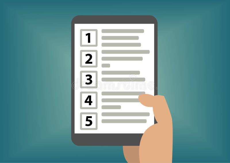 Concepto de graduación de la priorización con la tableta de la tenencia de la mano como ejemplo stock de ilustración