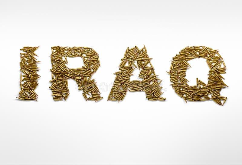 Concepto de guerra en Iraq Redacte Iraq mecanografiado con la fuente hecha de bala imagen de archivo libre de regalías