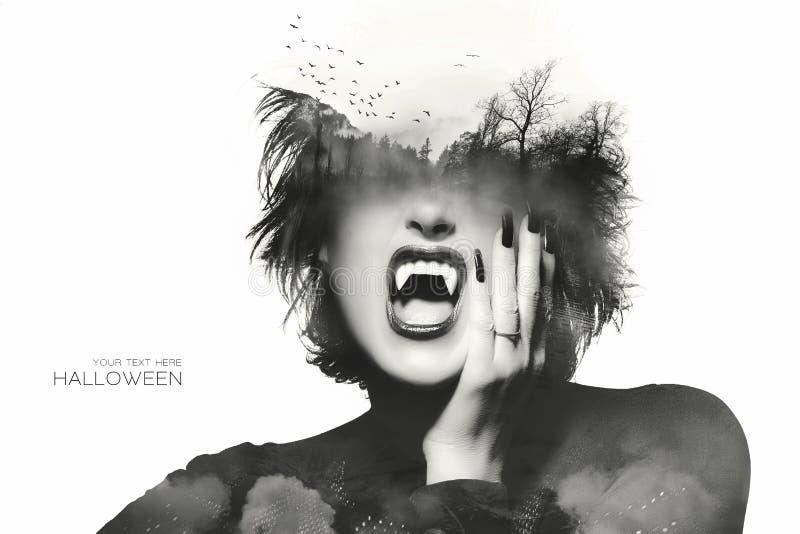Concepto de Halloween con una muchacha gótica Exposición doble foto de archivo libre de regalías