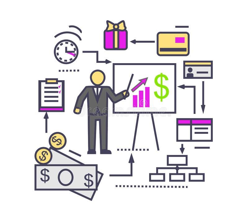 Concepto de icono del análisis financiero plano ilustración del vector