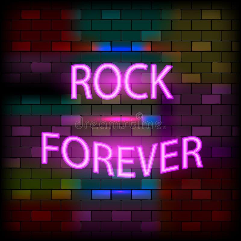 Concepto de iconos de neón vip Letrero Neon Rock Forever sobre el fondo oscuro de la pared de ladrillo Estilo plano Ilustración d stock de ilustración