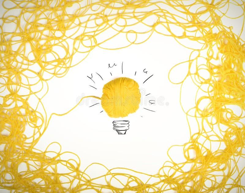Concepto de idea y de innovación con la bola de las lanas fotografía de archivo libre de regalías