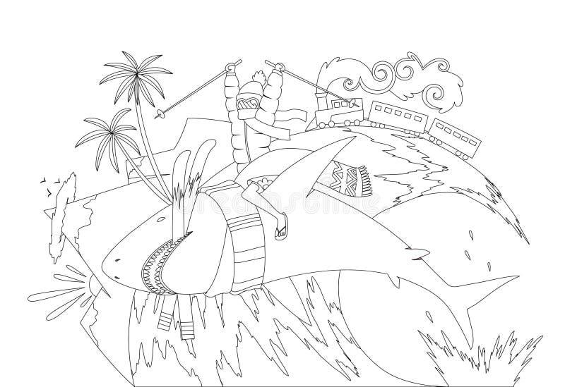 Concepto de ilustración vectorial de vacaciones de verano, viajes, turismo, viaje, recreación, descanso, surf, coloración de es stock de ilustración