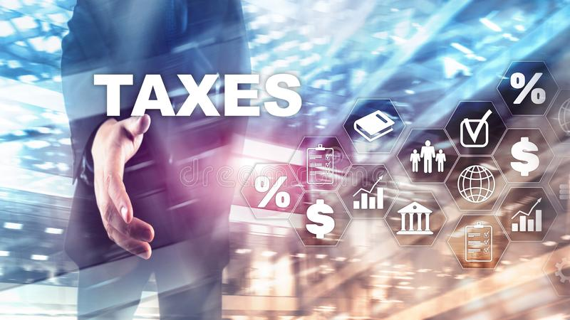Concepto de impuestos pagados por los individuos y las sociedades tales como impuesto de la cuba, de la renta y de riqueza Pago d imagen de archivo libre de regalías