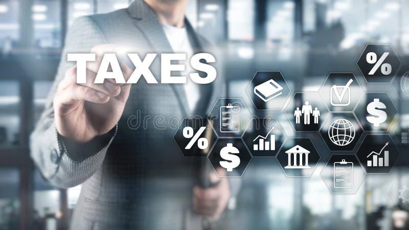 Concepto de impuestos pagados por los individuos y las sociedades tales como impuesto de la cuba, de la renta y de riqueza Pago d foto de archivo