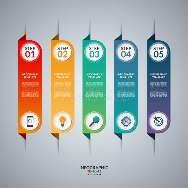 Concepto de Infographic con 5 etiquetas verticales ilustración del vector