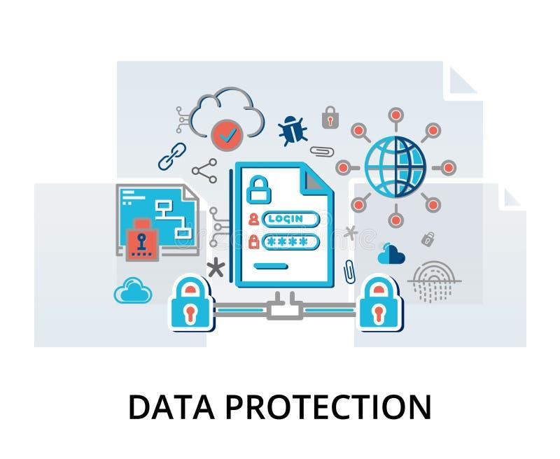 Concepto de Infographic de seguridad de Internet, protección de la red y ilustración del vector