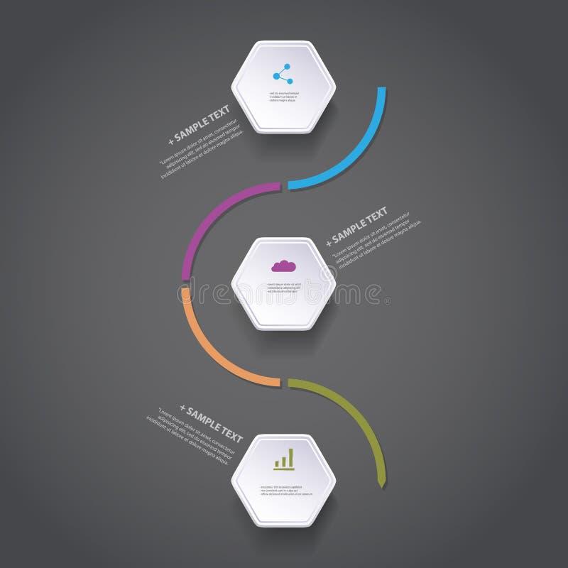 Concepto de Infographic - diseño del organigrama - cronología con hexágonos ilustración del vector