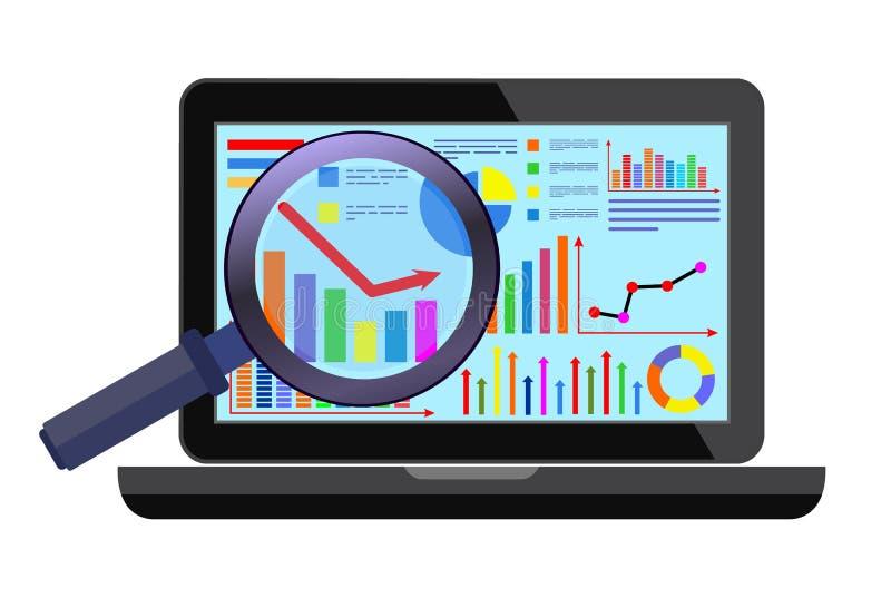 Concepto de información de la búsqueda del analytics de la página web Ejemplo moderno del vector del diseño plano libre illustration