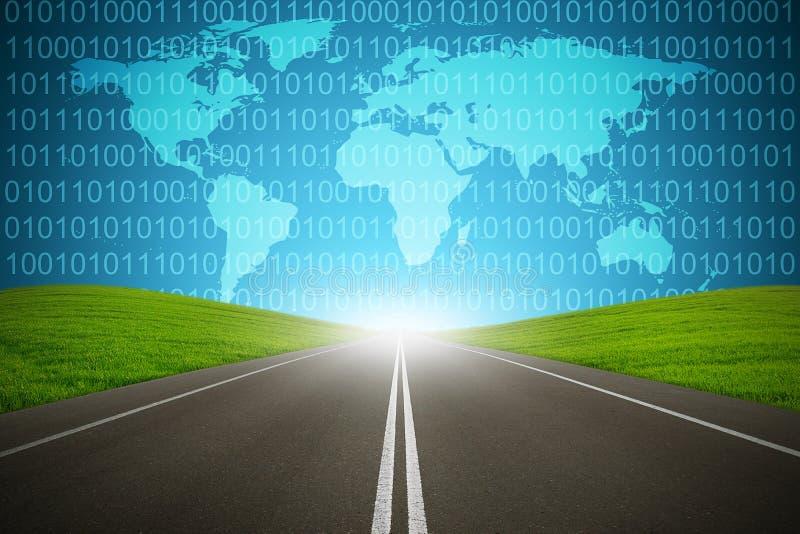 Concepto de Internet de la red de ordenadores del código binario de la carretera de Digitaces fotos de archivo