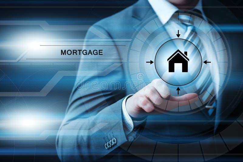 Concepto de Internet de la tecnología del negocio de la propiedad del préstamo de hipoteca fotos de archivo