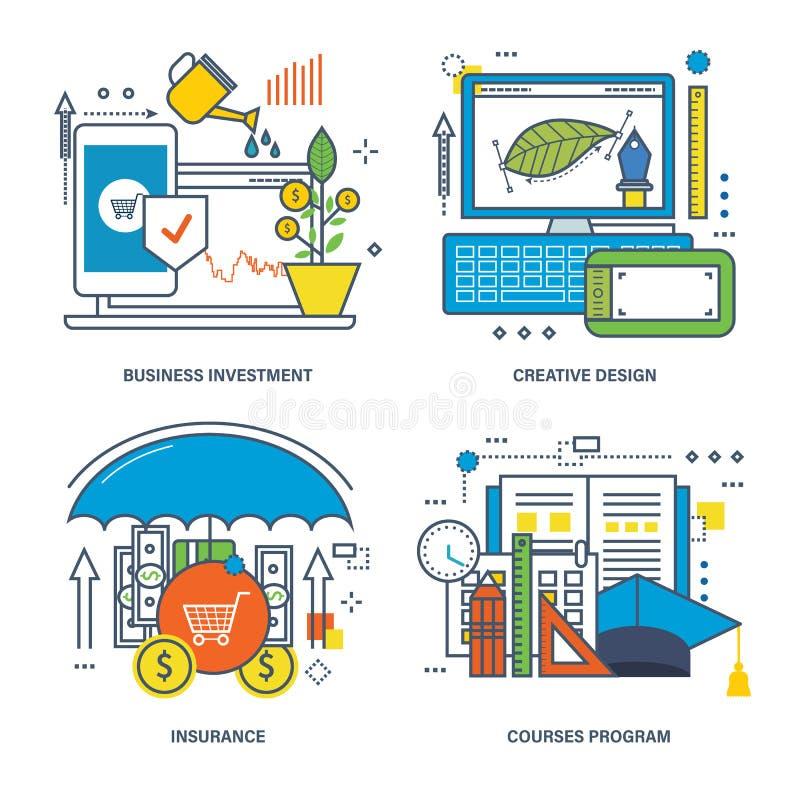 Concepto de inversión empresarial, de diseño creativo, de seguro y de programa de los cursos ilustración del vector