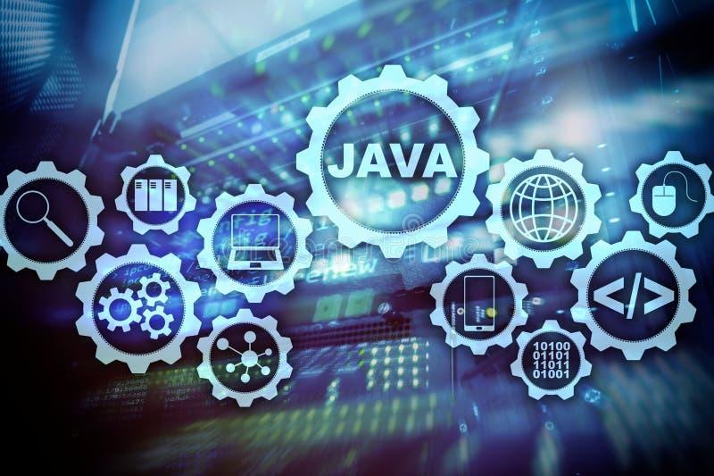 Concepto de Java Programming M?quina virtual En fondo del sitio del servidor imagenes de archivo
