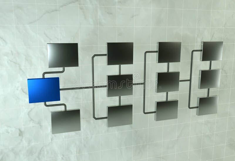 Concepto de jerarquía de la red 3d rinden de la conexión de red Web organizar ilustración del vector