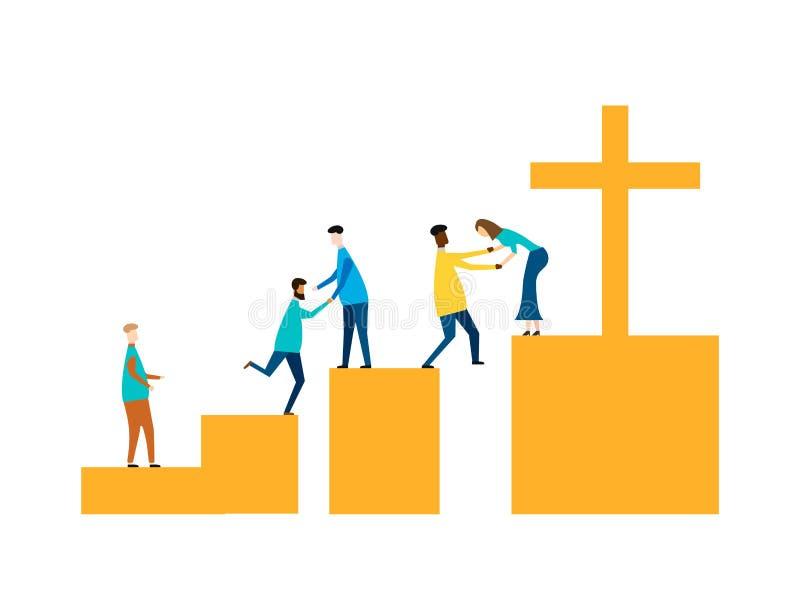 Concepto de Jesus Savior aislado en el fondo blanco Ilustración del vector stock de ilustración