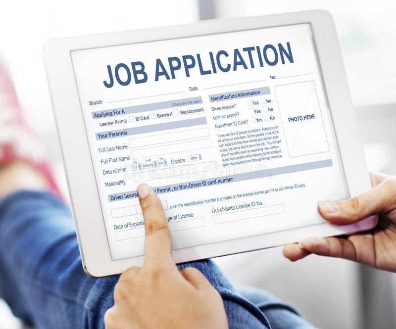 Concepto de Job Application Hiring Document Form imagenes de archivo