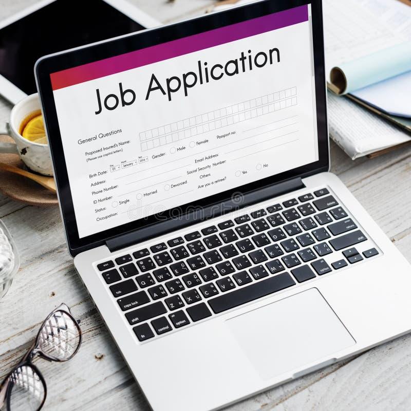Concepto de Job Application Hiring Document Form imagen de archivo libre de regalías
