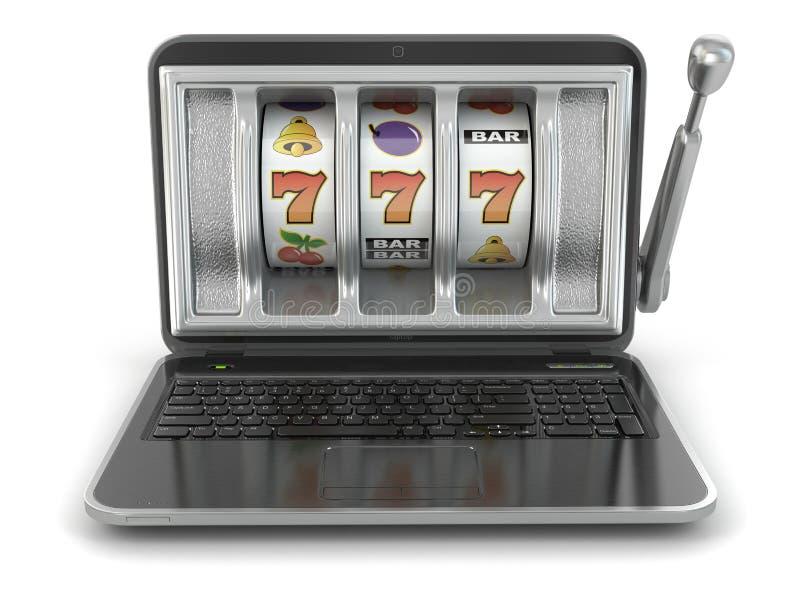 Concepto de juego en línea. Máquina tragaperras del ordenador portátil. libre illustration