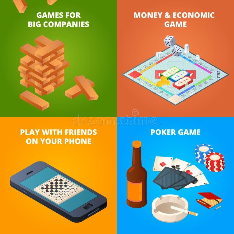 Concepto de juegos de mesa Inspectores, ajedrez y otros juegos libre illustration