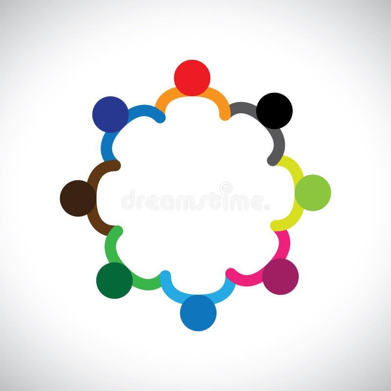 Concepto de jugar, de trabajo en equipo y de diversidad de los niños ilustración del vector