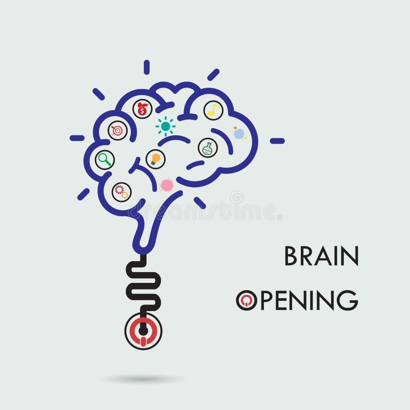 Concepto de la abertura del cerebro Diseño creativo del logotipo del vector del extracto del cerebro stock de ilustración
