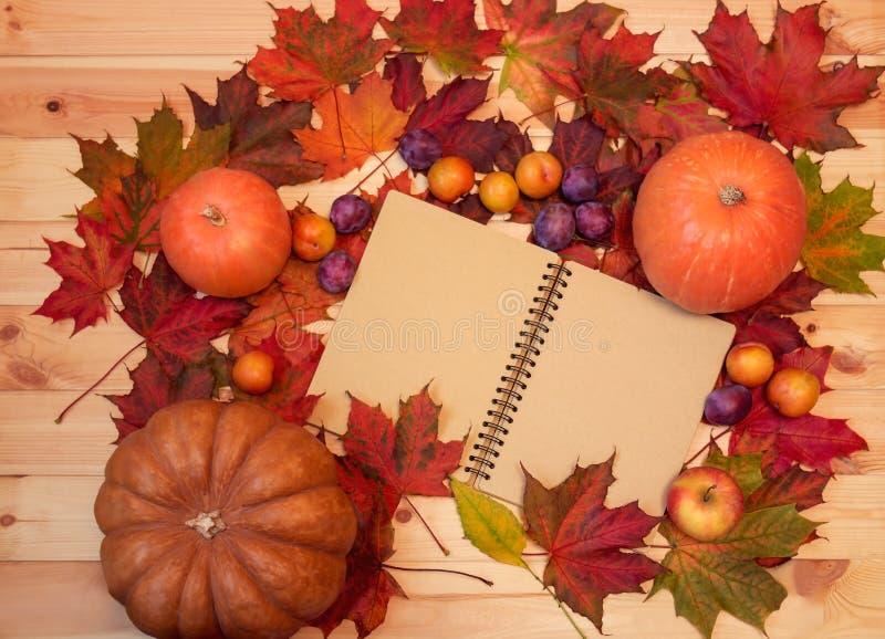 Concepto de la acción de gracias: calabazas, frutas, libreta abierta y hojas de otoño en fondo de madera Foco selectivo imagen de archivo libre de regalías