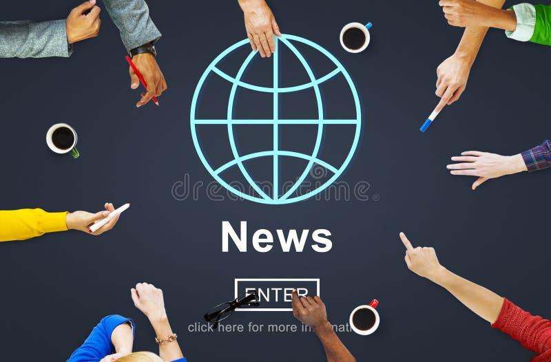 Concepto de la actualización de la información de la difusión del informe de noticias fotos de archivo libres de regalías