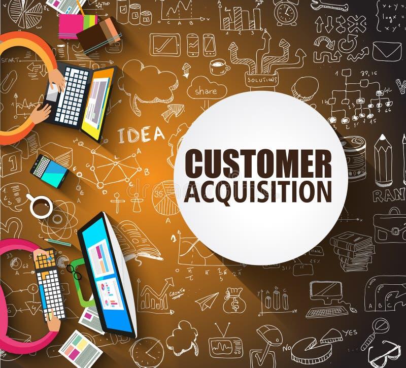 Concepto de la adquisición del cliente con el estilo del diseño del garabato, gente adentro ilustración del vector