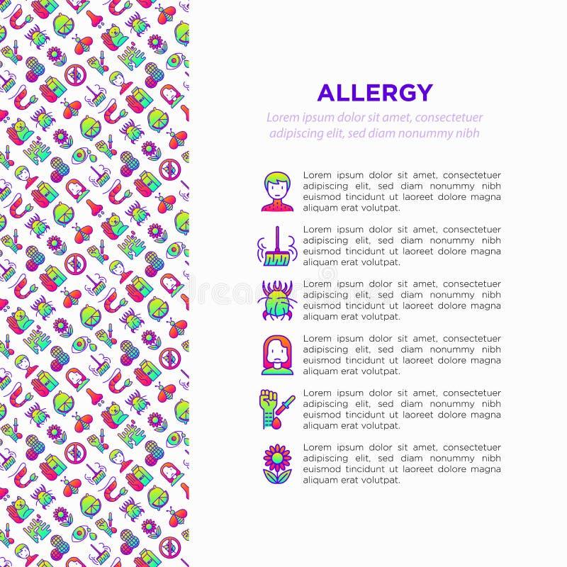 Concepto de la alergia con la l?nea fina iconos imagen de archivo libre de regalías