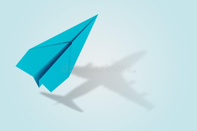 Concepto de la ambición y de la blanco con el avión de papel representación 3d fotografía de archivo libre de regalías