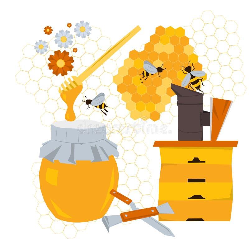 Concepto de la apicultura con los productos y el equipo libre illustration