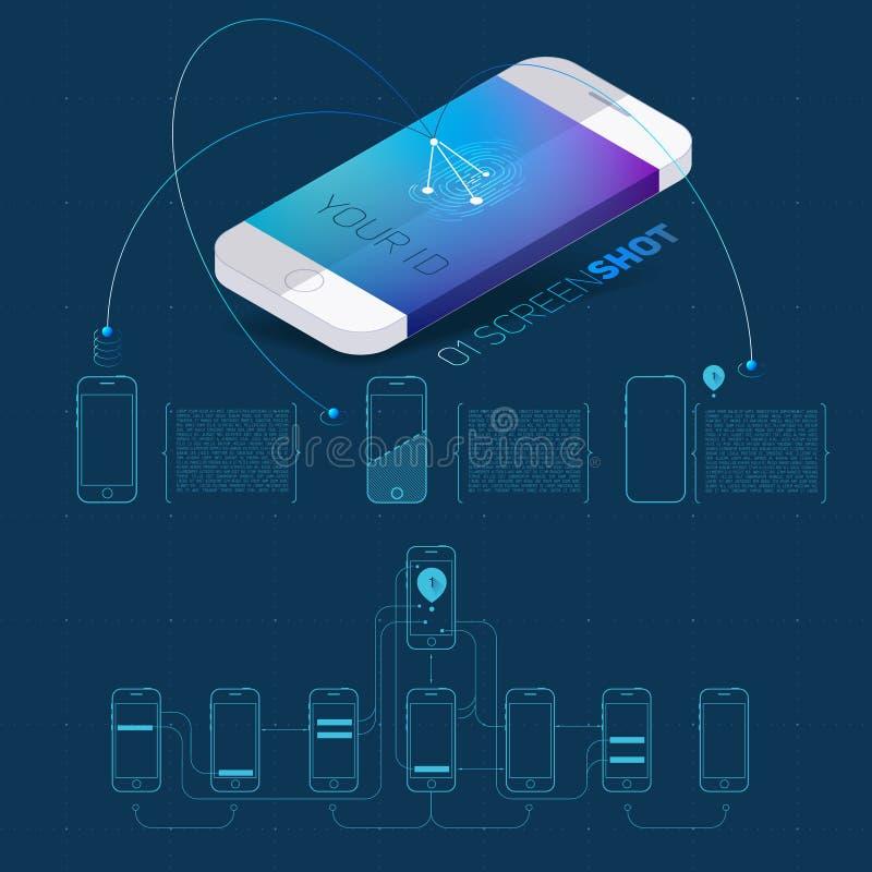 Concepto de la aplicación móvil de teléfono stock de ilustración