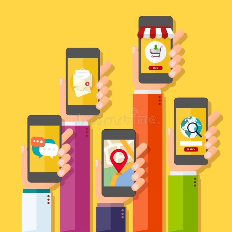 Concepto de la aplicación móvil Manos que sostienen los teléfonos ilustración del vector