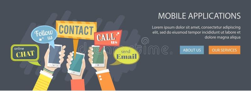 Concepto de la aplicación móvil Manos que sostienen los teléfonos con el spe del diálogo libre illustration