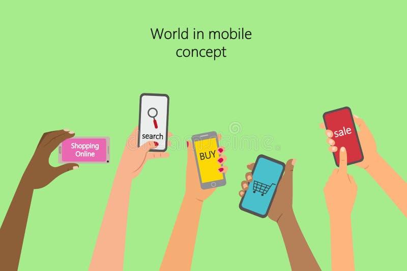 Concepto de la aplicación móvil stock de ilustración