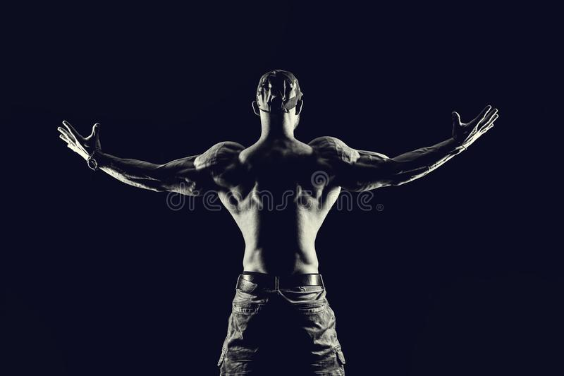 Concepto de la aptitud del levantamiento de pesas Hombre fuerte Muscul apto y sano fotografía de archivo